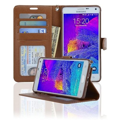 Navor Protective Flip Wallet Case for Samsung Galaxy Note 4 -(Brown)
