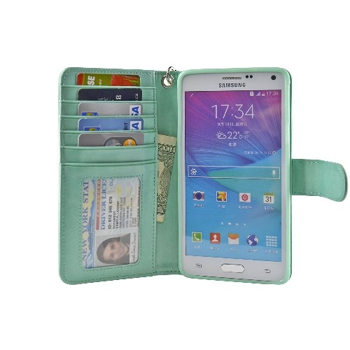 Navor Protective Flip Wallet Case for Samsung Galaxy Note 4 - (Mint)