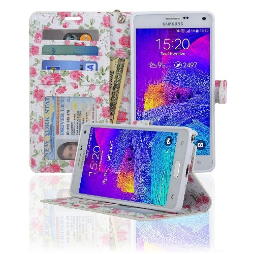 Navor Protective Flip Wallet Case for Samsung Galaxy Note 4 - (Rose)