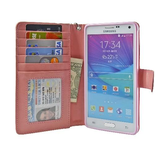 Navor Protective Flip Wallet Case for Samsung Galaxy Note 4 - (Peach)