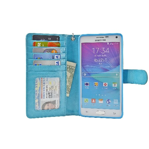 Navor Protective Flip Wallet Case for Samsung Galaxy Note 4 - (Light Blue)
