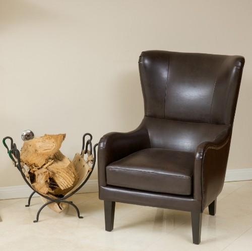 Laila Bonded Leather Studded Club Chair