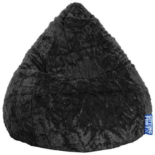 Stupendous Fluffy Contemporary Faux Fur Bean Bag Chair Black Evergreenethics Interior Chair Design Evergreenethicsorg
