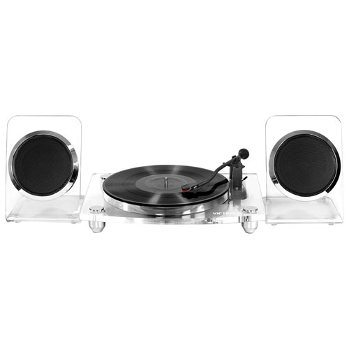Innovative Technology VM-100C-CLR Belt Drive Bluetooth Turntable with Wireless Speakers