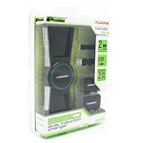 KMD Dual Induction Charger with 2X Battery Packs For Xbox 360 Controller, Black