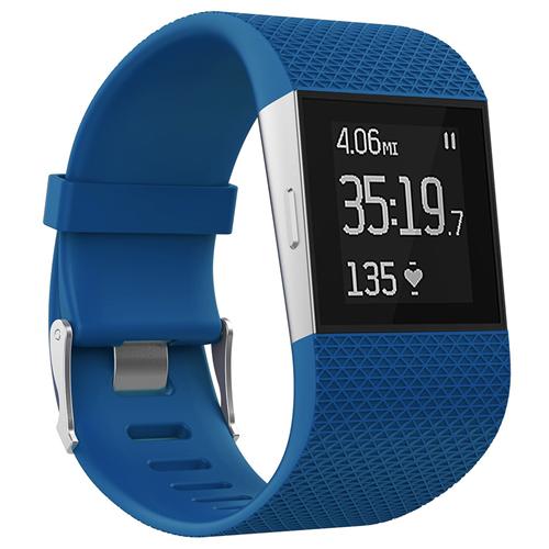 Courroie en caoutchouc de silicone de StrapsCo pour la courroie de Surge de courroie de Fitbit dans le bleu royal /longueur moyenne-longue