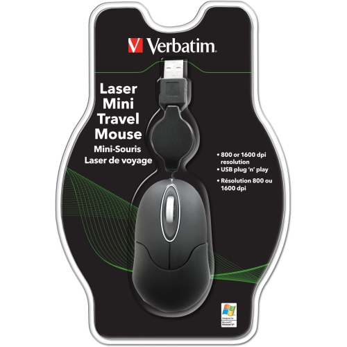 Verbatim MINI Travel Mouse USB 49008 PC, PC / Mac, 2 façons