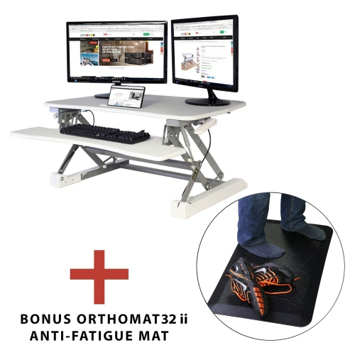 """Boost Industries STS-DR35ii White 35"""" Sit to Stand Desk Riser with Bonus OrthoMAT32ii Anti-Fatigue Standing Mat"""