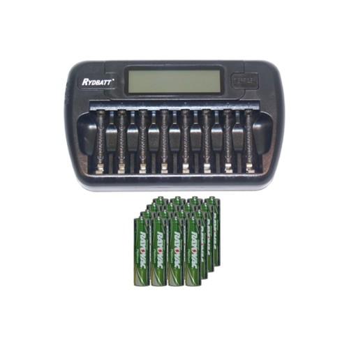 8 Bay AA / AAA LCD Battery Charger + 16 AAA 750 mAh Rayovac NiMH Batteries