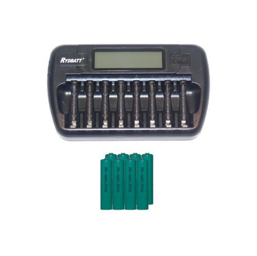 8 Bay AA / AAA LCD Battery Charger + 8 AAA 1200 mAh NiMH Batteries