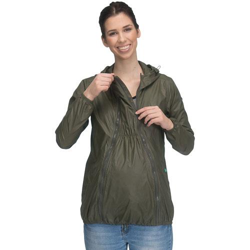Modern Eternity Ciara Waterproof Maternity Windbreaker - Medium - Khaki Green