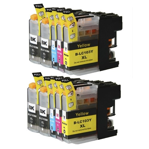 Brother LC-103 XL New Compatible Inkjet Cartridges - Combo Pack of 10 (BK,C,M,Y)