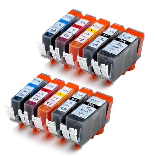 Canon PGI-225 & CLI-226 New Compatible Inkjet Cartridges - Combo Pack of 10 - (Large BK,Small BK,C,M,Y)
