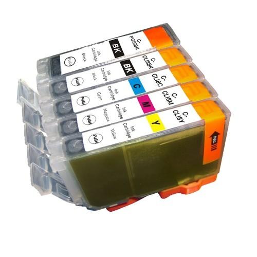 Cartouches d'encre compatibles Canon PGI-5 et CLI-8 - Combo Pack de 5 - (Grand BK, Petit BK, C, M, Y)