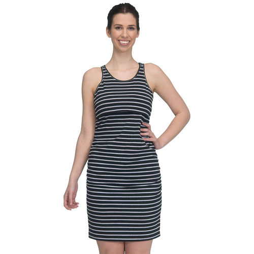 Modern Eternity Samantha Maternity Nursing Dress - Large - Black/Grey Stripes