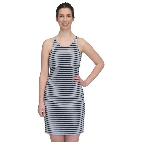 Modern Eternity Samantha Maternity Nursing Dress - Medium - Grey/Black Stripe