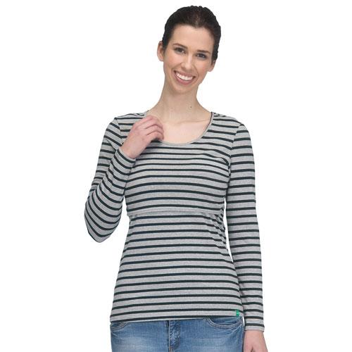 Modern Eternity Charlotte Maternity Nursing Top - X-Large - Grey/Black Stripes