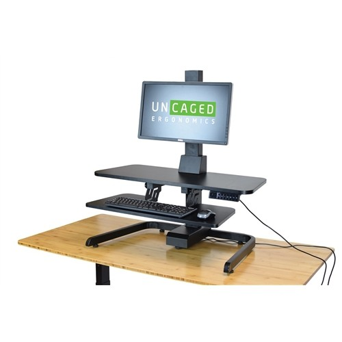 Uncaged Ergonomics ESDC-B Electric Standing Desk Riser - Height Adjustable MOTORIZED Sit Stand Desk (BLACK)
