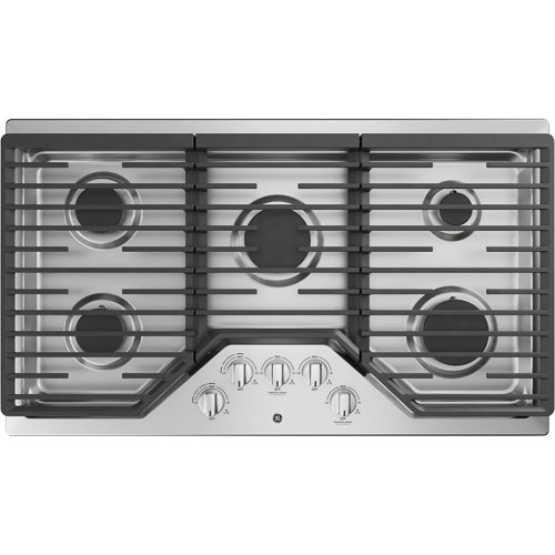 """GE 36"""" 5-Burner Gas Cooktop - Stainless Steel"""