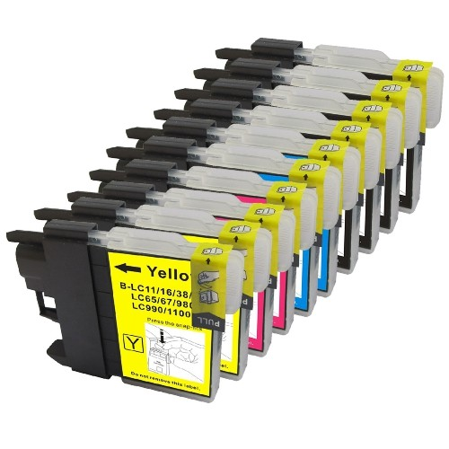 Brother LC-61 New Compatible Inkjet Cartridge - Combo Pack of 10 (BK,C,M,Y)