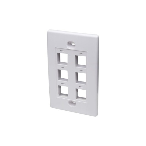 Intellinet Flush Mount - 6 Outlet - White. Hex outlet plate. Mounts flush agai