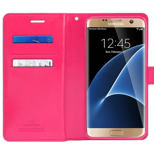 Samsung Galaxy S7 Edge Deluxe Wallet Style Case - Hot Pink