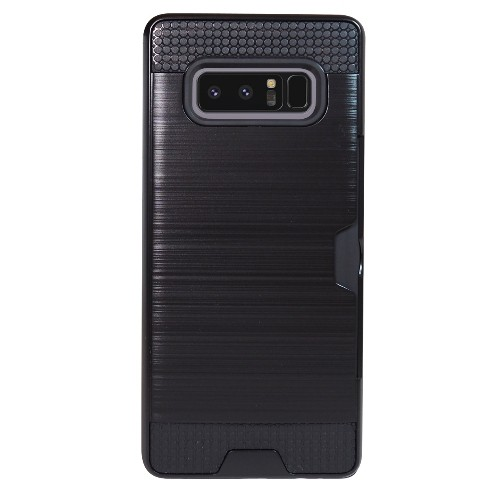 Exian Samsung Galaxy Note 8 2017 Armored Case with Card Slot Brushed Metallic Black