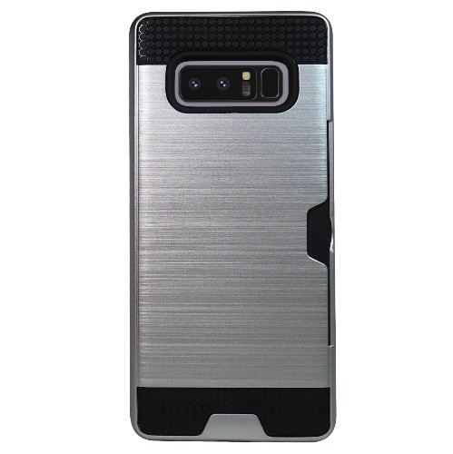 Exian Samsung Galaxy Note 8 2017 Armored Case with Card Slot Brushed Metallic Silver