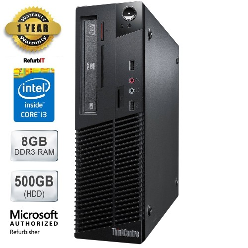 Lenovo ThinkCentre M81 Desktop, Intel Core i3, 8GB RAM, 500GB HDD, DVD-RW, Windows 10 Home, 1 Year Warranty - Refurbished