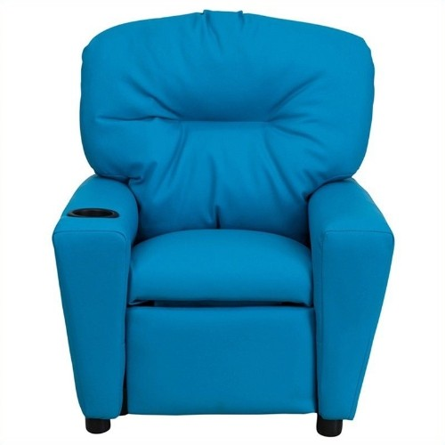 Flash Furniture Kids Recliner in Turquoise with Cup Holder