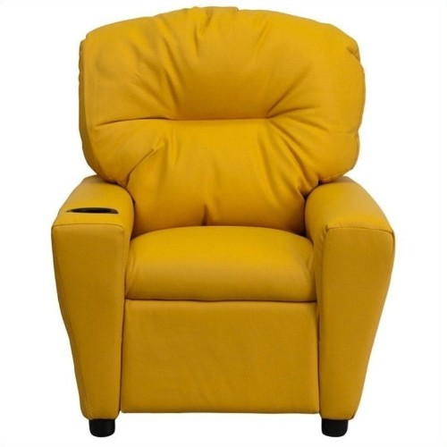 Flash Furniture Kids Recliner in Yellow with Cup Holder