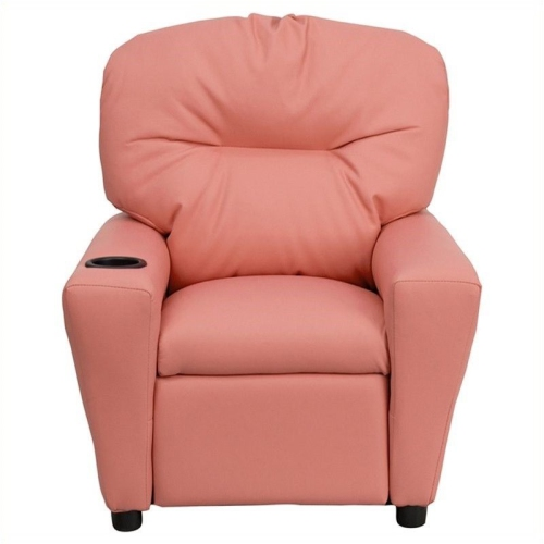 Flash Furniture Contemporary Kids Recliner in Pink with Cup Holder