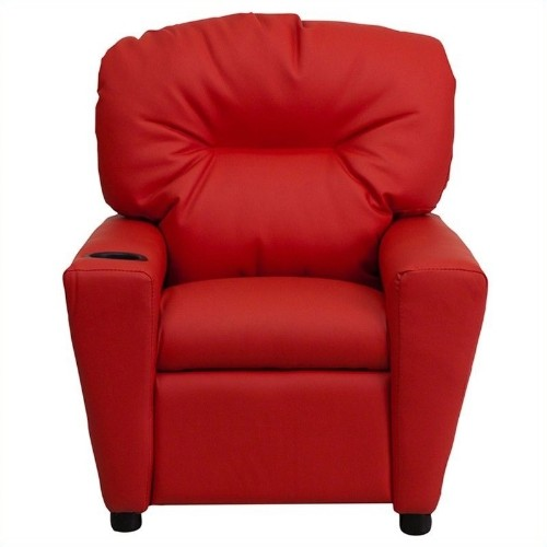 Flash Furniture Contemporary Kids Recliner in Red with Cup Holder