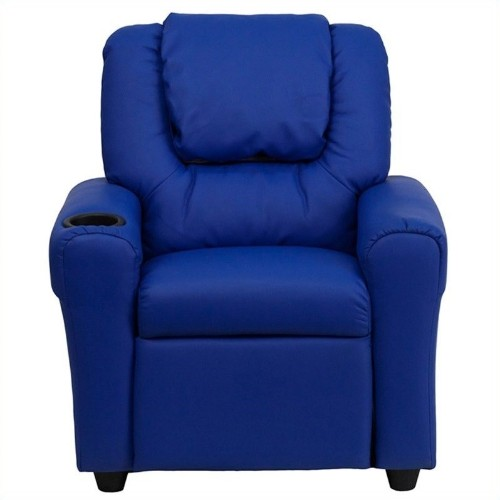 Flash Furniture Kids Faux Leather Recliner in Blue