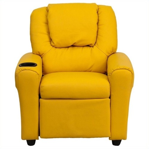 Flash Furniture Kids Faux Leather Recliner in Yellow
