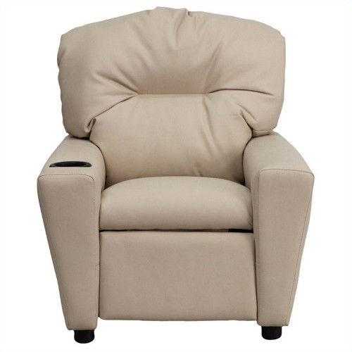 Flash Furniture Contemporary Kids Recliner in Beige with Cup Holder