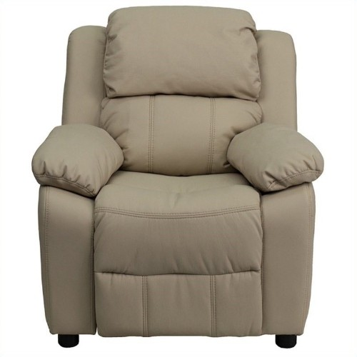 Flash Furniture Kids Recliner in Beige with Storage Arms
