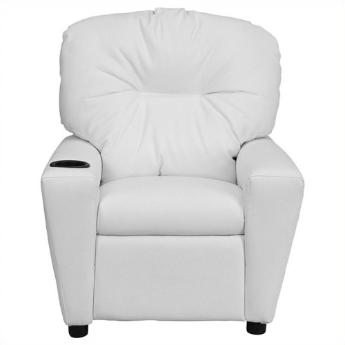 Flash Furniture Kids Recliner in White with Cup Holder