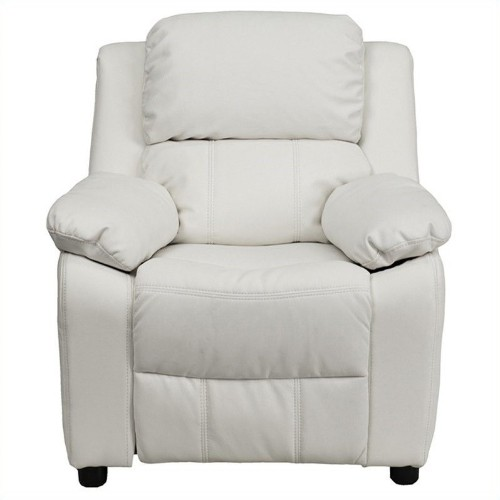 Flash Furniture Heavily Padded Kids Recliner in White