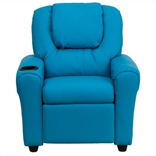 Flash Furniture Kids Faux Leather Recliner in Turquoise