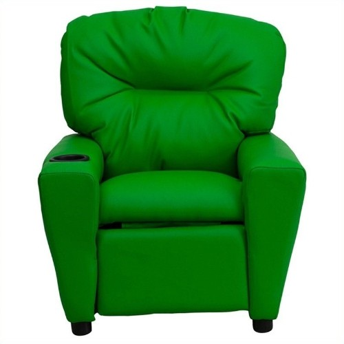 Flash Furniture Contemporary Kids Recliner in Green with Cup Holder
