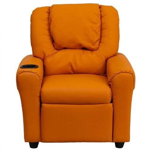 Flash Furniture Kids Faux Leather Recliner in Orange