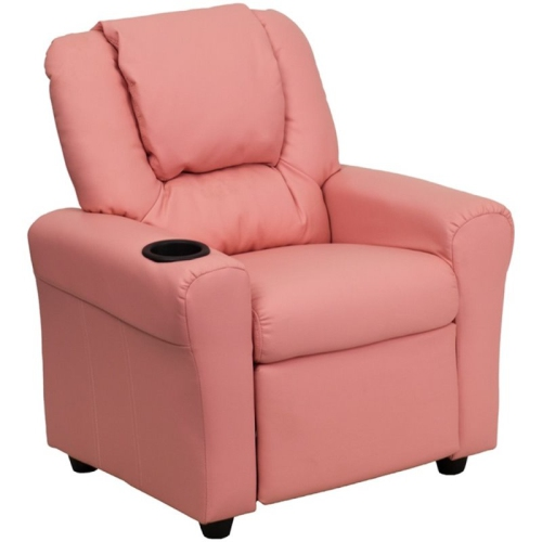 Flash Furniture Kids Faux Leather Recliner in Pink