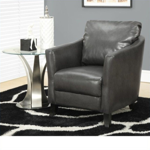 Super Monarch Faux Leather Accent Chair In Charcoal Gray Ibusinesslaw Wood Chair Design Ideas Ibusinesslaworg