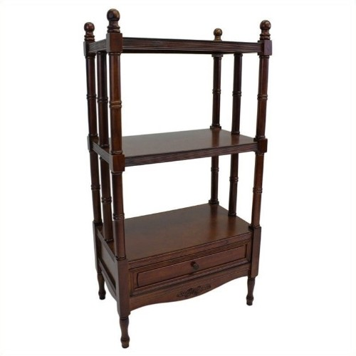 International Caravan Windsor 3 Tier Bookshelf In Walnut Bookcases