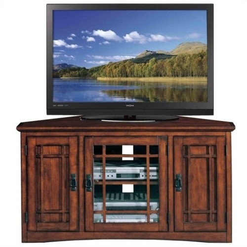 Leick Furniture Mission 46 Corner Tv Stand With Storage In Oak