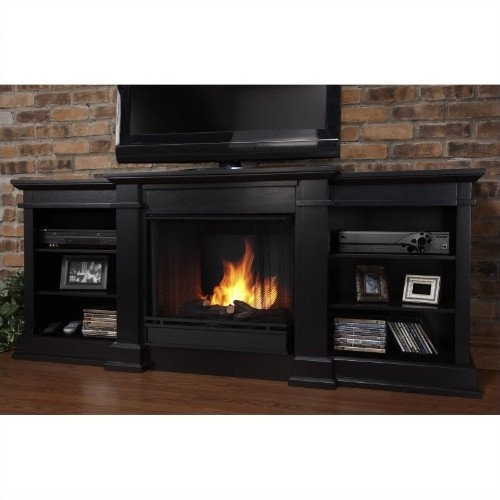 "Real Flame Fresno 72"" Indoor Gel TV Stand Fireplace in Black : Enjoy the ambiance of a Real Flame Fireplace"