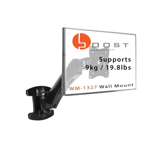 "Boost WM-1327 Universal Full Motion Articulating Gas Spring Wall Mount For Flat Panel TVs And Monitors 13"" To 27"" (Black)"