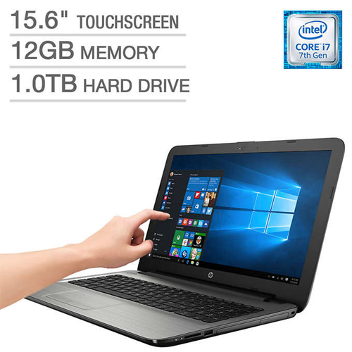 "HP 15-AY122CL 15.6"" Touchscreen Intel i7-7500U 12GB Memory 1TB HDD Intel Wireless AC + BT DVDRW DTS Sound HDMI Win 10 Laptop"