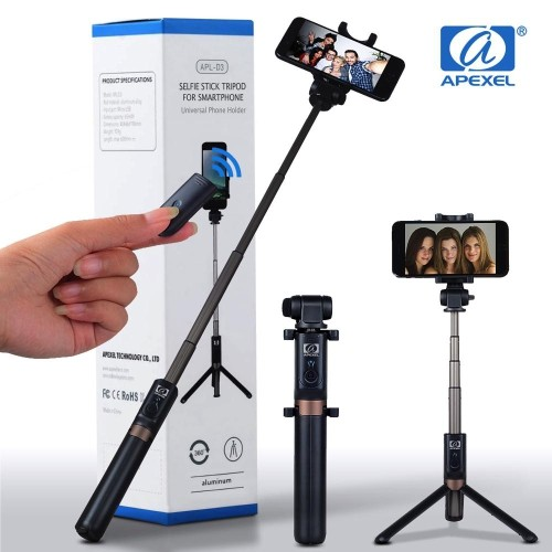 bluetooth selfie stick tripod with remote for iphone
